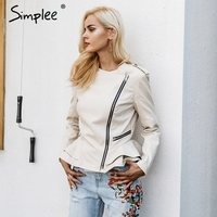 Simplee Black PU faux leather jacket coat Casual zipper ruffle basic jacket Women autumn winter street jacket outerwear