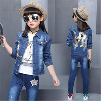 4 15 Years Spring Fall Flower Girls Clothing Set Denim Jacket T Shirt + Jean Pants Sets Cowboy Suit Ripped Buttons Girl Outwears