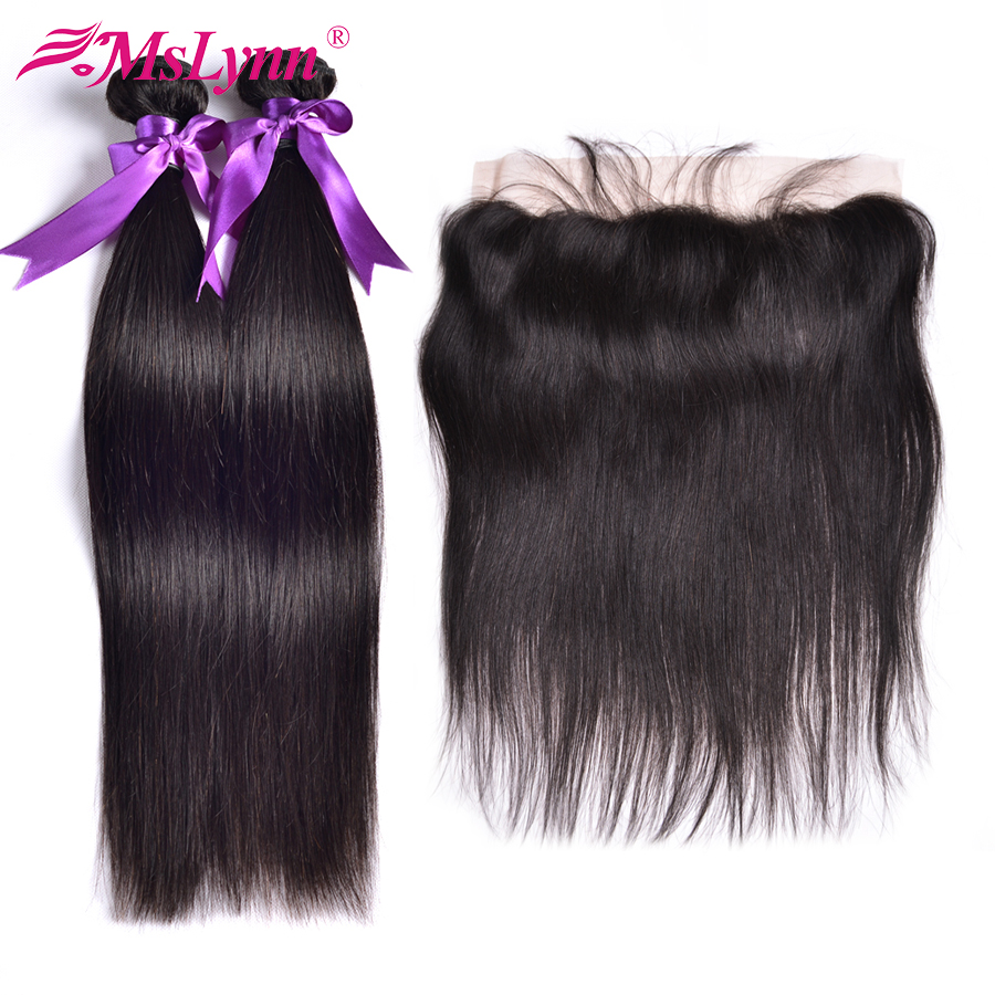 Mslynn Brazilian Straight Hair Weave Bundles With Closure Frontal 13x4 Lace Frontal Closure With Bundles Non