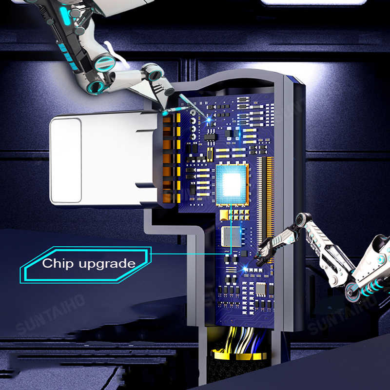 Suntaiho 90 درجة USB كابل آيفون XS ماكس XR X 6s 7 8 plus 2A شحن سريع كابل للإضاءة باد USB شاحن كابل البيانات