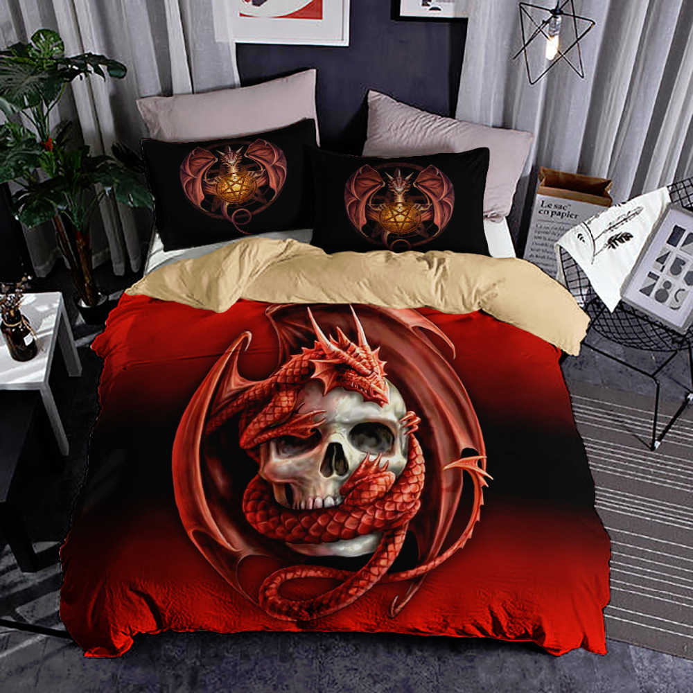 3D Skull dragon Bedding Set red color Duvet Cover twin queen king size Bedclothes 3pcs Home Textiles in Bedding Sets from Home Garden