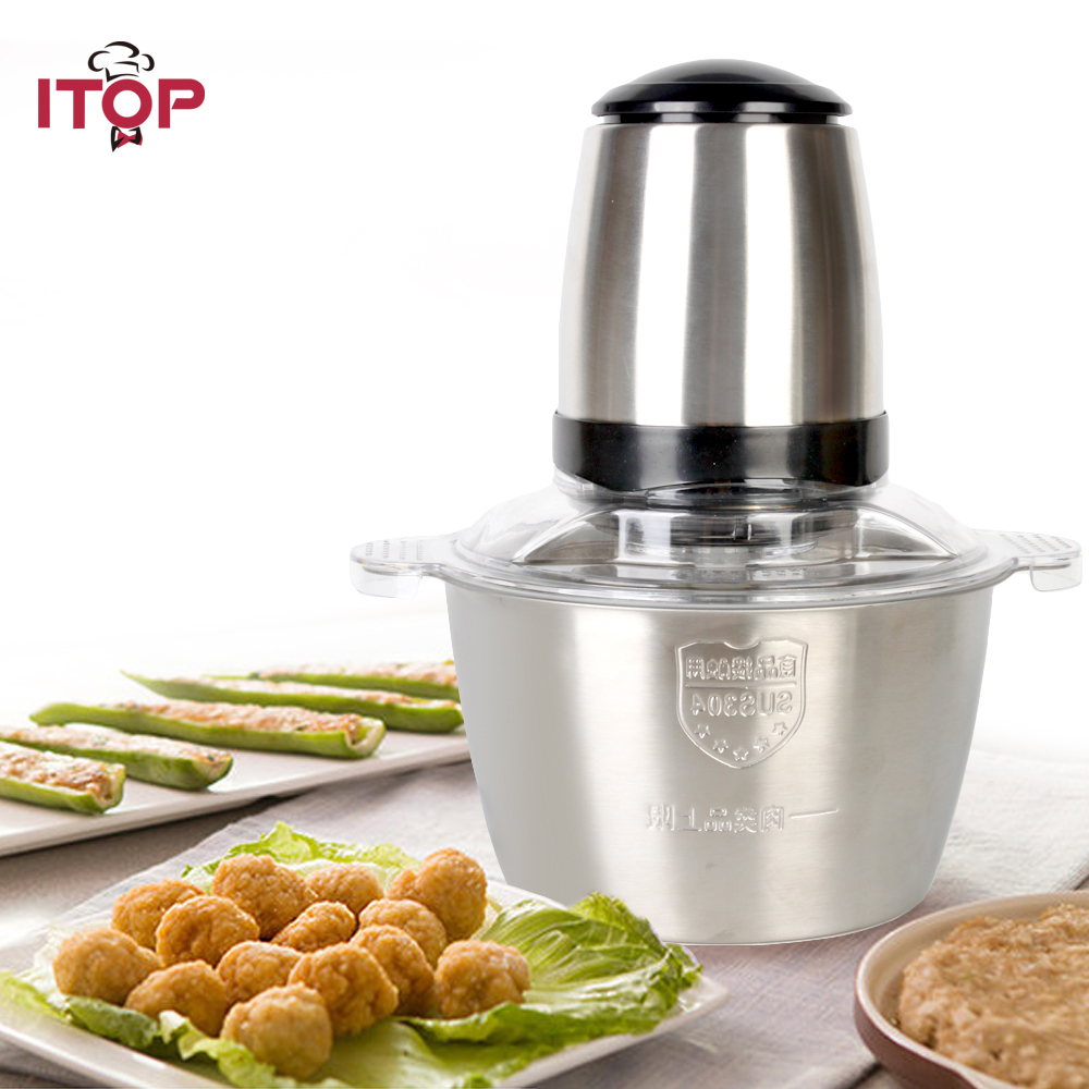 ITOP Electric Meat Chopper Automatic Mincing Machine Small Home Use Slicing Appliance 350W Stainless Steel 2L Bowl