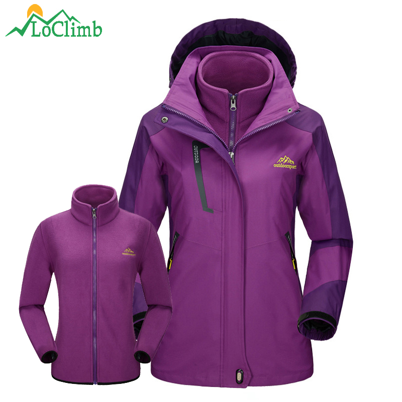 LoClimb 3 In 1 Winter Ski Jackets Women Trekking Fleece Windbreaker Sport Coats Climbing Camping Hiking Jacket Waterproof,AW122