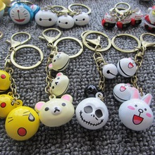 Promotion Gift Anime Cartoon Unique Design Keychain Antique Bronze Key Ring Bell Key Chain Bag Charm Accessories Christmas Gift