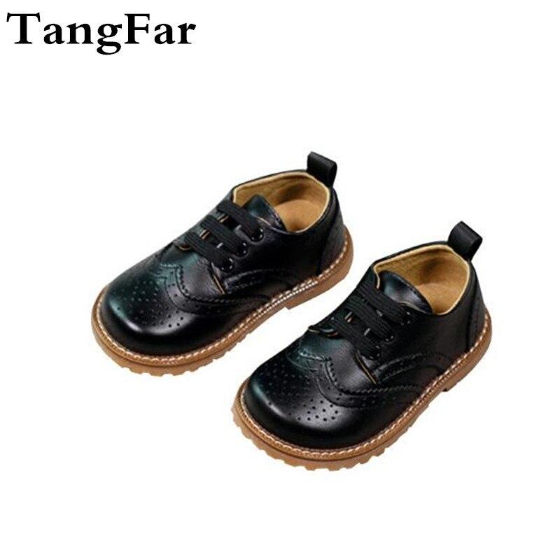 Chaussures enfants en cuir véritable chaussures décontractées respirantes pour adolescentes à lacets garçons chaussures Brogue bébé en cuir véritable appartements