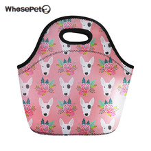WHOSEPET Thermo Bag Women Cute Pitbull Floral Printing Japanese Snacks For Children Girls Neoprene Insulated Cooler Lunch Bag