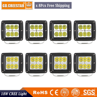 3INCH 18W 12V LED WORK LIGHT X8pcs China Factory Wholesale SPOT FLOOD FOG LAMP FOR OFFROAD