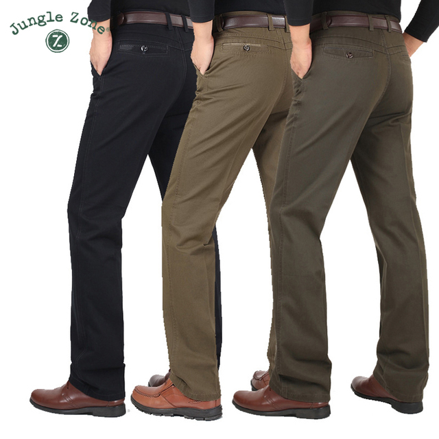 JUNGLE ZONE autumn and winter men's business casual pants waist straight pants thick cotton brand men's trousers