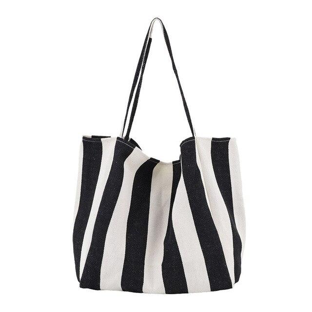 Striped Big Canvas Tote Bag...