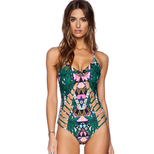 2a351b619213e 2018 New Sexy Indians Totem Print One Piece Swimsuit Women Bathing suit  Monokini Beach Wear Green