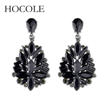 HOCOLE Fashion New Red White Black Green Crystal Flower Shape Drop Earrings Bridal Wedding Jewelry for Women 2018