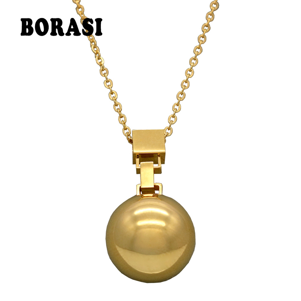 Hot sale Height Polishing Mirror Side Stainless Steel Ball Pendant Necklace Female Jewelry Gold Necklaces & Pendants For Women