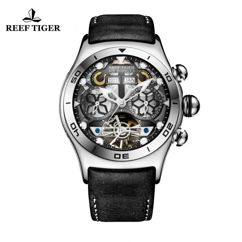 Récif Tigre/RT Mens montres de sport montre automatique squelette En Acier Étanche Tourbillon montre avec date Jour reloj hombre RGA703