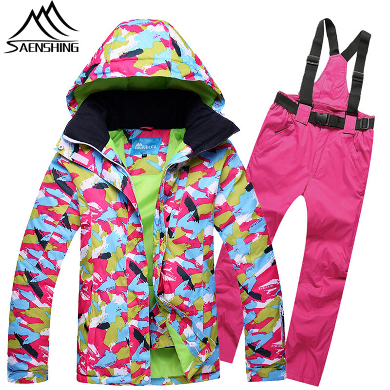SAENSHING Cheap Ski Suit Women Snowboard Suits Winter Snow Jacket Pants for Female Waterproof Outdoor Graffiti Skiing Clothing gsou snow ski suit for women skiing suit winter outdoor sports clothes snowboard set camouflage ski jacket and pants multicolor