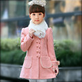 2016 Girl   thickening woolen overcoat  girls clothing  cotton-padded  fur collar outerwear spring and autumn