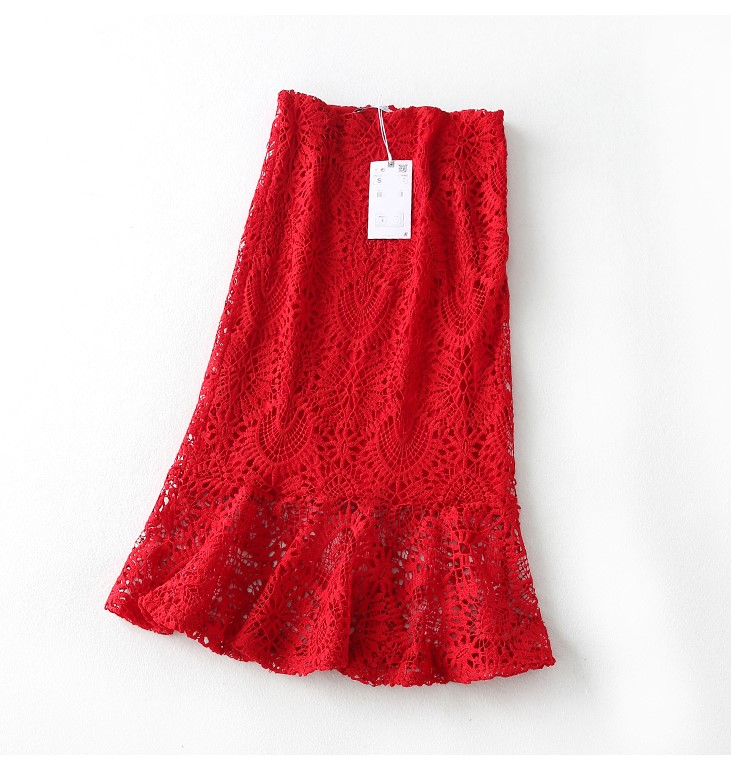 Mujeres Cintura L Párr Sexy Rojo Taile Con Encaje Volantes Grandes Alta S Mujer Pescado M Tallas Saia Para Verano Cremallera De Faldas Falda wq5xZCY