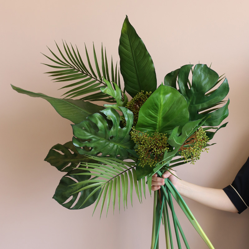 Large Artificial Plant Palm Leaves Green Fern Leaves Turtle Bamboo Leaves Tree Branch Home