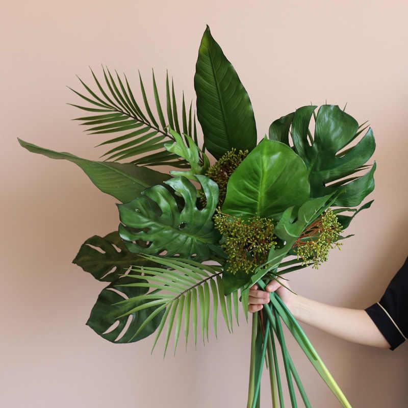 Tropical rain forest big tree leaf Artificial Flowers,Fake flowers Bouquets Wedding flowers,floral Arrangement Wedding Decoration Table