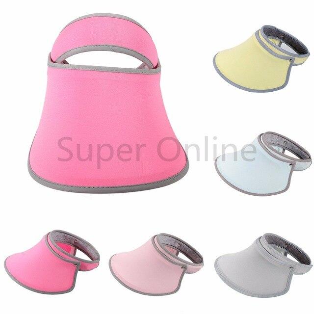 d8b03187137 Women Golf Tennis Sports Summer Visors Cap Wide Brim UV Protection Sun  Visor Hat Sunshade Fishing