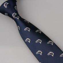 LAMMULIN мужские галстуки дизайн синий с серебряным рисунком рыбы жаккард шейный платок из микрофибры обтягивающий галстук 7 см Рождество Gravata