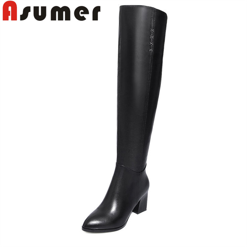 ASUMER 2018 NEW adult fashion high heels solid simple lady over the knee boots pointed toe black genuine leather boots size34-39 large size 2016 fashion genuine leather women boots thick high heels pointed toe shoes solid black over the knee boots