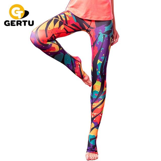 GERTU Hot Sales! New Push-up Leggings Women Skinny Elastic Patchwork Print Sporting Leggings Pants Fitness Clothing For Women