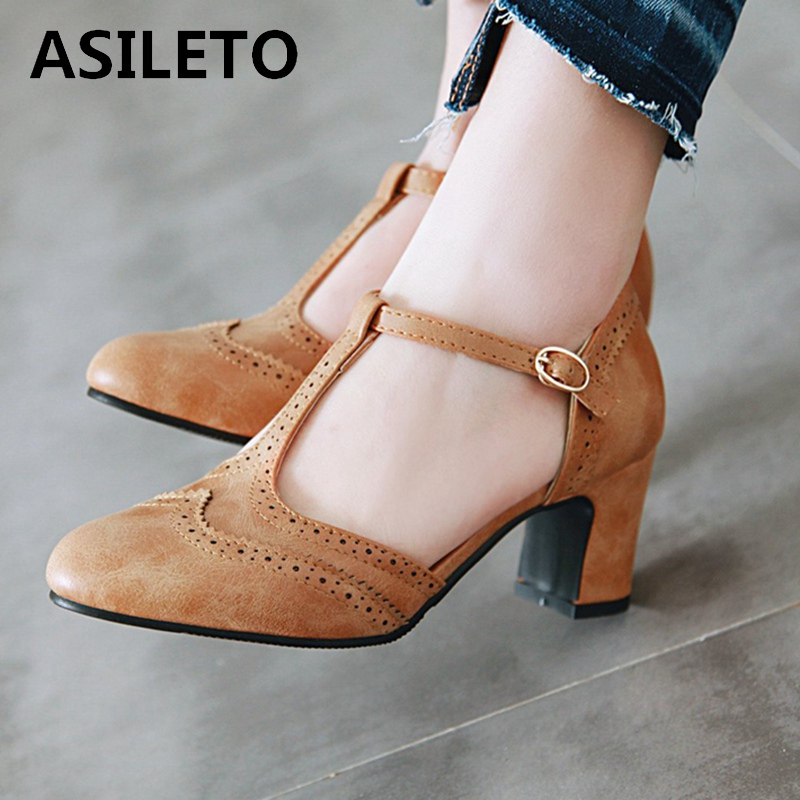 ASIELTO Large size 43 Round Toe Buckle Strap New Peep Women Shoes Pumps Thick High Heels 6.5cm party Casual footwear Sapatos