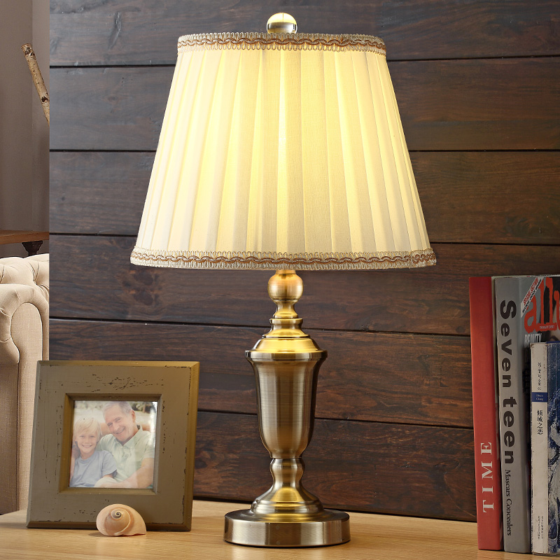 Chrome Led Desk Lamp Lustre Modern Table Lamp Reading Light Bedroom Bedside Lights Fabric Lampshade Home Lighting
