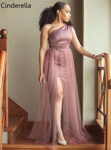 Image 3 - One Shoulder Side Slit Floor Length Elastic Satin Mermaid Bridesmaid Gowns Cheap Satin Bridesmaid Dresses