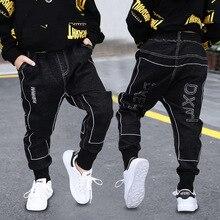 Moda erkek pantolon ilkbahar sonbahar çocuk kot pantolon pamuk katı siyah uzun pantolon genç erkek bebek bebek giysileri 3T 8 13Y