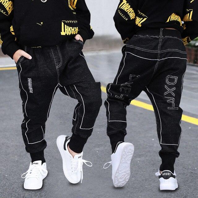 Mode Jungen Hosen Frühling Herbst Kinder Jeans Hose Baumwolle Solide Schwarze Lange Hose für Teen Junge Kleinkind Baby Kleidung 3T 8 13Y