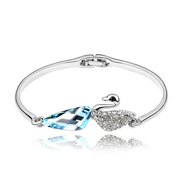 Austria Crystal Blue Swan Bangle Bracelet Small Wrist Fashion