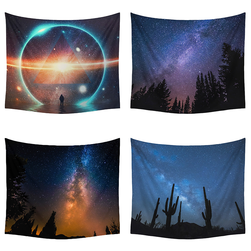 Monily Psychedelic Starry Polyester Tapestry Magical Moon Sky Modern Home Decor Wall Hanging Beach Towel Rectangle Yoga Mat