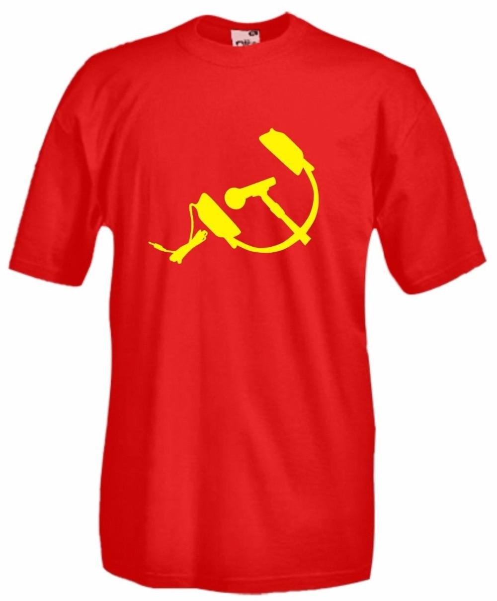 2018  High Quality Tee Shirt T-Shirt Shirt Funny Microphone  Headphone Hammer  Sickle Summer Cotton T-shirt