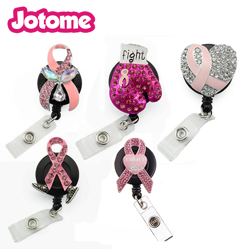 US $34 36 18% OFF|In stock Random mix RN style brooch medical retractable  card holder nurse Breast Cancer Awareness pink ribbon Id working holder-in