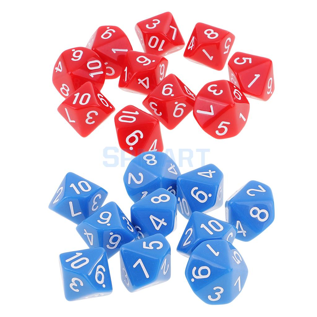 20 Pieces Polyhedral 10 Sided Dice D10 Blue+Red for Dungeons and Dragons Games Role Play Game Table Game Toys KTV Bar Pub Apply