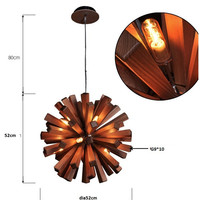 Modern Chinese Style Solid Wooden Round Living Room Pendant Lamp Original Ecology Coffee Stage Bar G9
