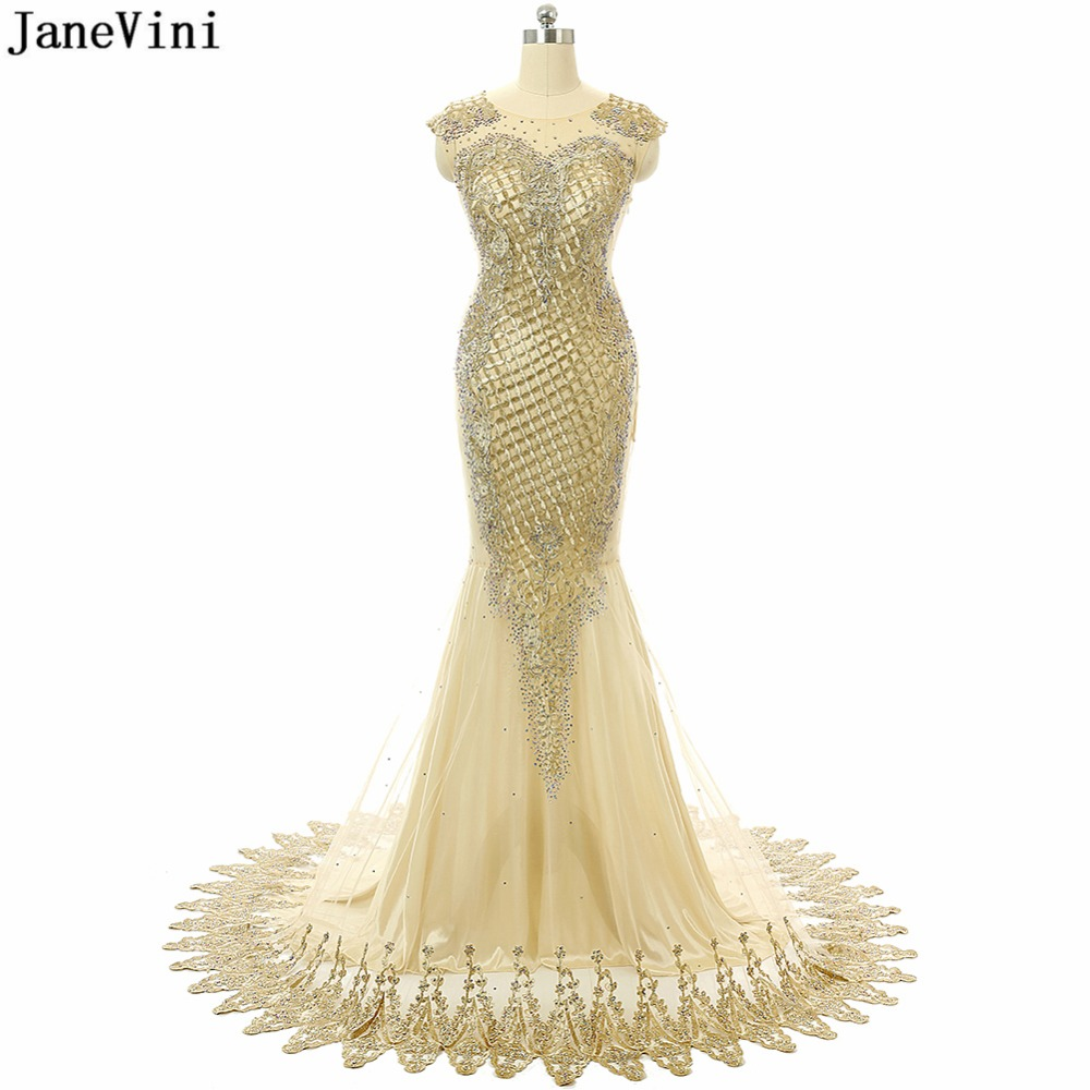 JaneVini Sexy Mermaid Gold Dubai Mother Of The Bride Dresses Luxury Embroidery Appliques Beaded Middle East Evening Party Gowns