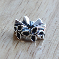 Original Troll Three Flower Charm Beads 4.4mm Bracelets 925 Sterling silver Beads For Gift Womnen DIY Bead Jewelry Making