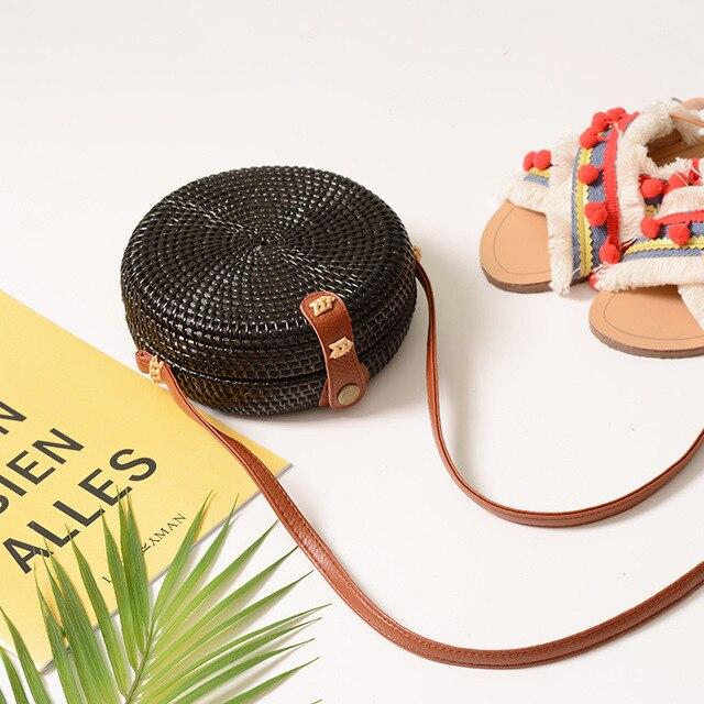 Sacs en rotin noir couleur bohème Bali île sac de mode sac à bandoulière en paille 2018 sac à bandoulière de plage
