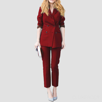 New Arrivals Burgundy Autumn Formal Women Business Suits Ladies Office Work Wear Suits Womens Tailored 2 Piece Suits Custom Made