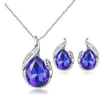 Zircon Women bridesmaid bride jewelry Water droplets sets geometric Choker necklace earrings for women wedding se