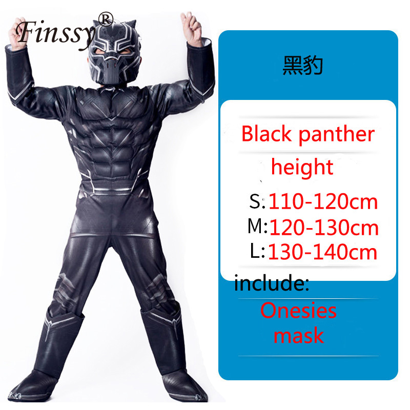 Avengers Hero Black Panther Cosplay Onesies Halloween Carnival Masquerade Birthday Party Costume Gift for children