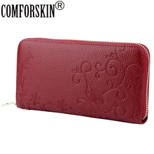 COMFORSKIN Premium 100% Genuine Leather Embossing Flower Wallet Large Capacity Long Style Womens Wallets 2018 Billetera Mujer