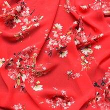 Новинка, шифоновая ткань высокого качества, летняя ткань с принтом, одежда высокого качества с большим красным цветком