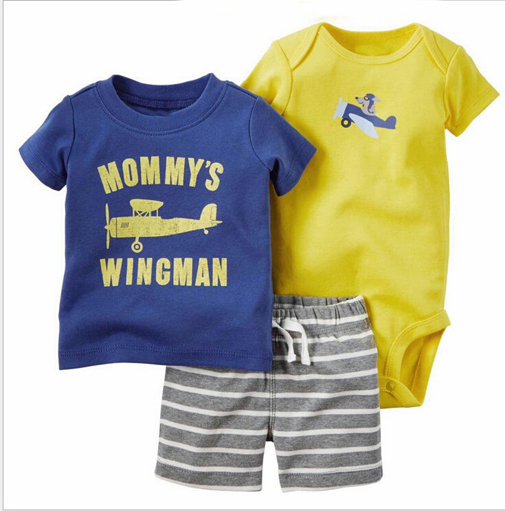 2018 Baby Boy and Girl Clothes 3pcs Set O-Neck Regular Print Baby Clothing New Fashion Cotton Baby Clothing
