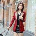 Thick Fleece Women's Winter Leather Jacket 2015 Autumn Fashion Slim Medium-Long Coat Zipper Outerwear Stitching Sleeve