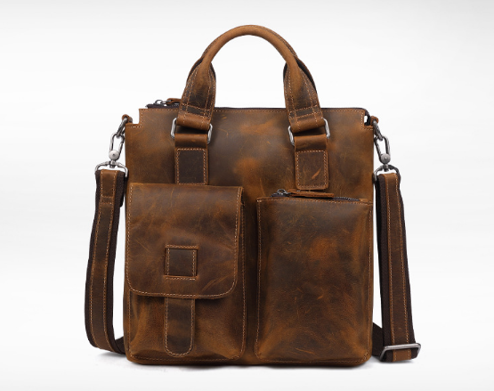 New Genuine Leather Crazy Horse Business Briefcase Bag Zipper Vintage Messenger Men Shoulder Bag Large Capacity HandbagL62 new retro briefcase men bag crazy horse genuine leather men handbag men shoulder large capacity bussiness bag zipper laptop bag
