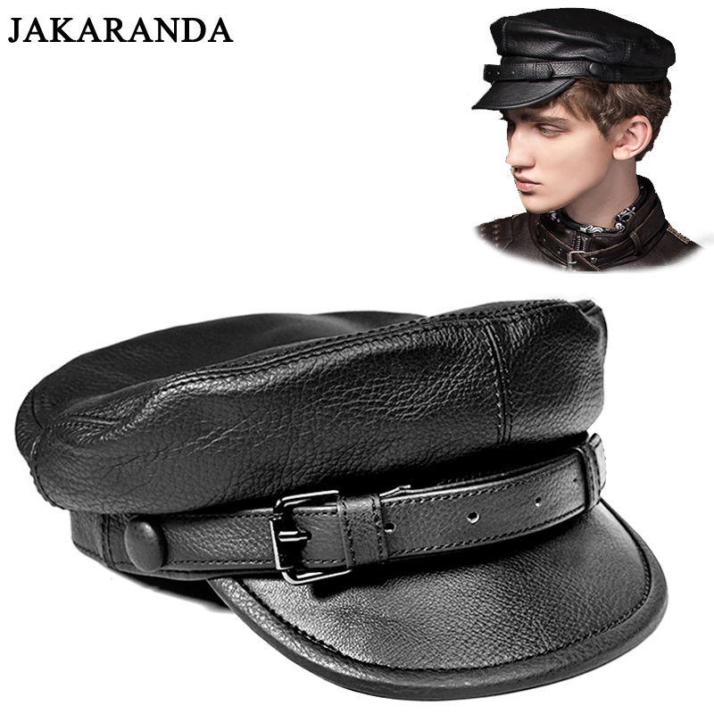 RY0116 Unisex South Korean Style Genuine Leather Fitted Flat Hat For Man Woman Personality Locomotive Punk