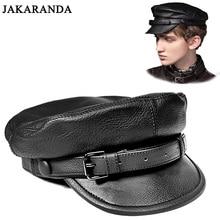 RY0116 унисекс Южнокорейский стиль натуральная кожа Встроенная плоская шляпа для мужчин и женщин Личность локомотив панк черные бейсболки